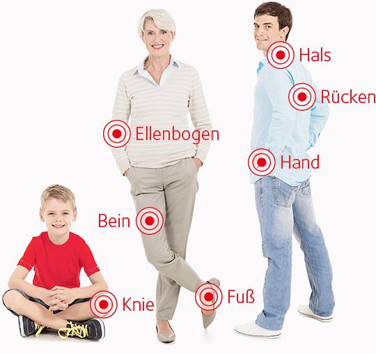 Auf dem Foto befinden sich drei Personen: ein sitzendes Kind im Schneidersitz und roten T-Shirt; eine ältere Frau stehend mit angewinkeltem Bein und ein junger Mann, mit dem Rücken zum Betrachter gedreht und sein Blick  richtet sich direkt auf den Betrachter.