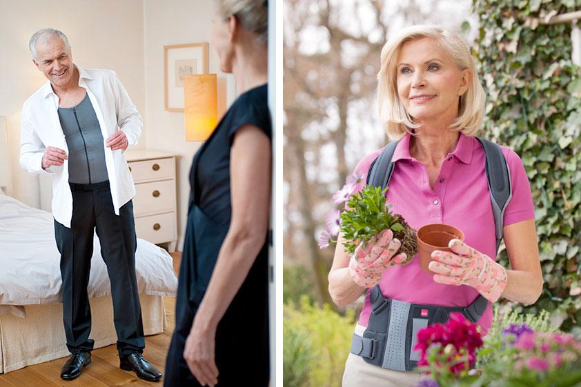 Links im Bild sieht man einen älteren, ergrauten Mann mit einer wirbelsäulenaufrichtenden Orthese zur aktiven Entlastung und Korrektur der Lendenwirbelsäule und rechts eine ältere Frau bei der Gartenarbeit mit einer Rückenorthese zur aktiven Aufrichtung und Stabilisierung des Rückens bei Osteoporose.
